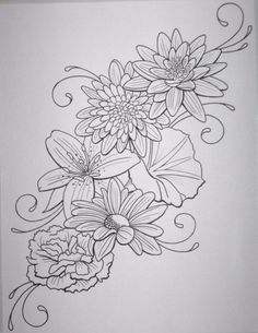 Flower tattoo outline