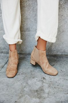 Vegan Kelly Boot | Vegan suede ankle bootie with Chelsea-style elastic bands on the sides and a small chunky heel. Features a padded footbed for a cute and comfortable step.