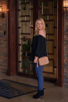 Fancy Things. Black Off Shoulder Peplum Top+skinny jeans+black ankle boots+camel crossbody bag. Fall Weekend Outfit 2016