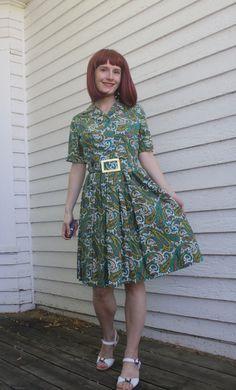 Vintage Paisley Print Cotton Day Dress Carol Brent S by soulrust