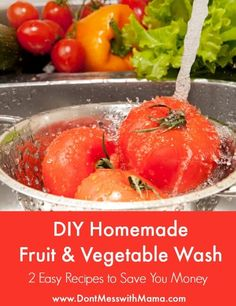 Homemade Fruit and Vegetable Wash DIY Homemade Fruit and Vegetable Wash - 2 Easy Recipes to Save You Money - DIY Homemade Fruit and Vegetable Wash - 2 Easy Recipes to Save You Money - Homemade Cleaning Products, Cleaning Recipes, Cleaning Diy, Diy Products, Cleaning Supplies, Real Food Recipes, Cooking Recipes, Healthy Recipes, Easy Recipes