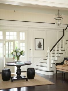 Such a beautiful foyer by Austin Patterson Disston Architects! I've painted my foyer white, now to add the woodwork! House Design, Foyer Design, Interior Design, House Interior, Luxury Interior Design, White Wainscoting, Home, Home Decor, Floor Design