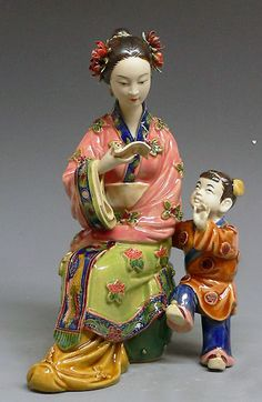 RP:  Chinese Ceramic Figurine Woman Mother / Child  - art-sam.com
