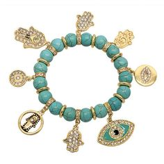 Swarovski Studded Hamsa Hand & Evil Eye Bracelet - Turquoise