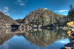The First Basin in Launceston's Cataract Gorge.  HDR processing of a single photograph revealed detail in the  shadows from the hills. http://aviewfinderdarkly.com.au/2014/10/07/single-shot-hdr-processing-with-photomatix-pro-and-lightroom/