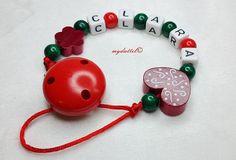 Schnullerkette Blume Wunschname Herz Baby md184 von myduttel auf DaWanda.com