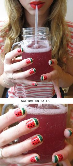 "In the wise words of John Mayer, ""a little bit of summer's what the whole year's all about."" This watermelon manicure is what summer's all about! #Gloss48 #SummerNailArt"