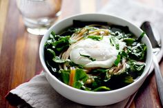 Swiss Chard and Noodle Soup with Poached Egg