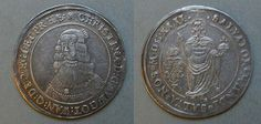 CHRISTINA, 1 riksdaler, 1642, silver, Sweden -- a near perfect, uncirculated coin -- traces of mounting above the Christ figure on obverse side and left side of Queen Christina on reverse