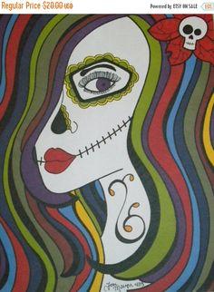 CIJSALE Sugar Skull Girl Art, Day of the Dead Art, Dia De los Muerto, 9x12 Inch Drawing, Promarker and Sharpie Drawing, Sugar Skull Art, Wal