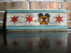 Handcrafted Blackhawks Chicago Flag by RadChicago on Etsy Chicago Tattoo, Chicago Art, Chicago Style, Fun Crafts, Diy And Crafts, Arts And Crafts, Cooler Painting, Sport Craft, Stuff And Thangs