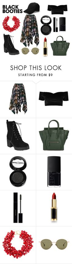 """Black Booties 2"" by dinosaurqueen ❤ liked on Polyvore featuring Sacai, Boohoo, CÉLINE, Manic Panic NYC, NARS Cosmetics, Gucci, L'Oréal Paris, Kenneth Jay Lane and Ahlem"