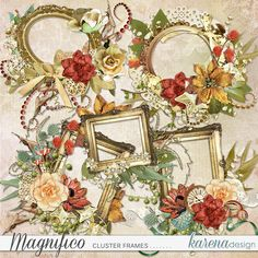 Digital Scrapbooking, Frames, Floral Wreath, Shop, Collection, Design, Decor, Decorating, Flower Crowns