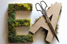 Living In Vogue: DIY: Moss Letters - Different Wedding Crafts Moss Letters, Flower Letters, Diy Letters, Diy Wedding Letters, Diy Baby Shower Centerpieces, Diy Centerpieces, Boy Nursery Letters, Moss Decor, Baby Room Diy