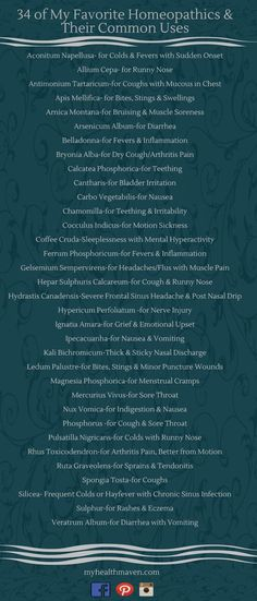 34 of My Favorite Homeopathics - My Health Maven