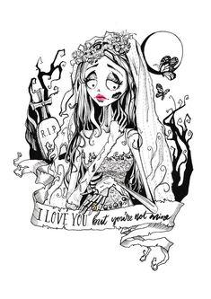 Limited+Edition+Art+Prints -Hand+signed+and+numbered+by+artist Original+Painting Corpse Bride Art, Corpse Bride Tattoo, Inktober, Tim Burton Films, Arte Obscura, Art Inspiration Drawing, Art Corner, Goth Art, Halloween Art