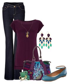 jeans and t-shirt, with a peacock by meganpearl on Polyvore featuring Warehouse, Rachel Zoe, Maison Margiela, Desigual, teardrop earrings, ballet flats, long pendant necklaces, bootcut jeans, emerald green and t-shirt