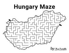 Free Printable Hungary Maze Mazes For Kids Printable, Free Printables, Activity Sheets For Kids, Activities For Kids, Paper Puppets, World Thinking Day, Home Schooling, Hungary, Coloring Pages