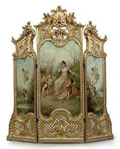 Paraván * zlacené dřevo zdobené raženými listy a malovaným obrázkem dívky v lesnaté krajině, 19 st. * Francie.