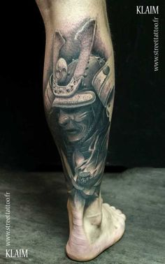 Black and Grey Samurai Helmet Tattoo by Klaim