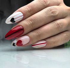 How to choose your fake nails? - My Nails Red Nails, Love Nails, Gorgeous Nails, Pretty Nails, Style Nails, Shiny Nails, Matte Nails, Glitter Nails, Valentine's Day Nail Designs