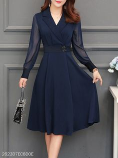 Fold-Over Collar Plain Skater Dress - Herren- und Damenmode - Kleidung Dresses For Teens, Trendy Dresses, Modest Dresses, Fall Dresses, Tight Dresses, Simple Dresses, Nice Dresses, Evening Dresses, Casual Dresses