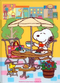 Happy Sunday - Good Morning - Snoopy and Woodstock at Brunch Snoopy Love, Snoopy E Woodstock, Charlie Brown Und Snoopy, Baby Snoopy, Peanuts Gang, Peanuts Cartoon, Snoopy Cartoon, Image Clipart, Art Clipart