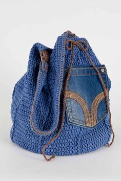 Upcycled Denim Bag Crochet - PDF Pattern