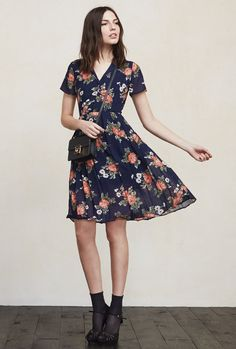 Your dream vintage dress except better because it actually smells nice. It's charming and easy and will have you feeling like the lady you are. The Taylor Dress is a georgette knee length dress with a split collar, button detailing down the front, sheer short sleeves and a pleated skirt. https://www.thereformation.com/products/taylor-dress-moonshadow?utm_source=pinterest&utm_medium=organic&utm_campaign=PinterestOwnedPins