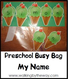 My Name ~ Preschool Busy Bag   Walking by the Way - We are starting to learn how to recognise our name so a task like this would be great perhaps in the background we could put lots of things that start with that letter as a talking point Mumcraft