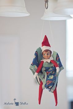 Elf on the Shelf in an underwear swing. Christmas Time Is Here, All Things Christmas, Naughty Elf, Holiday Fun, Holiday Decor, Elf On The Shelf, Shelf Elf, Buddy The Elf, Holidays With Kids