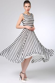 Maxi Dresses – White black Striped chiffon dress prom dress – a unique product by yanhuayue via en.DaWanda.com #blackandwhite