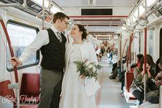 Toronto City Hall Wedding - Bride and groom travel to reception on the subway. Casual wedding.