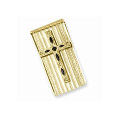 Gold-tone Enameled Cross Money Clip - Engravable Personalized Gift Item