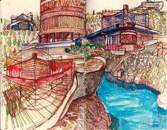 Ignacio Klindworth. #Boceto para serie Urbanizaciones. Técnica mixta sobre papel. 30x28cm. Madrid 2006. www.ignacioklindworth.es