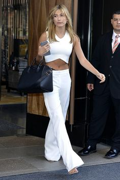 The Day She Showed Off Her Abs in a White Loungewear Look