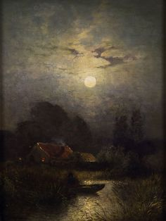 The Cottage At Prout's Neck — In the moonlight -Sophus Jacobsen