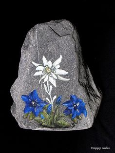 EDELWEISS et GENTIANES by rockpainting , yvette, via Flickr