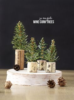 Simple Wine Cork Trees! Perfectly rustic feel for dinner favors or a sweet edition to you holiday decor. Tutorial at www.livelaughrowe.com: