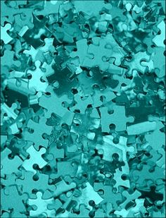 Spray paint puzzle pieces in orange and turquoise center piece. Tiffany Blue, Azul Tiffany, Shades Of Turquoise, Shades Of Blue, 50 Shades, Photo Wall Collage, Picture Wall, Orange Pastel, Magenta