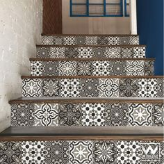 Gray Old World Spanish Tiles Design - DIY Stair Riser Decals for Decorating - Wallternatives Porch Tile, Patio Tiles, Outdoor Tiles, Stenciled Stairs, Painted Stair Risers, Building Stairs, Building A New Home, Removable Wall Decals, Vinyl Wall Decals
