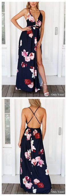 V-neck Random Floral Print Open Back Splited Hem Dress US$23.95
