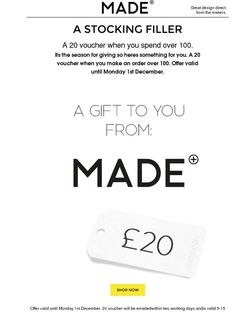 Get a £20 voucher when you spend over £100. Happy Friday. - Made.com