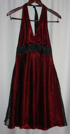 Jones-Wear-Dress-Size-12-Cranberry-Red-with-Black-lace-over-NEW-Halter-Style