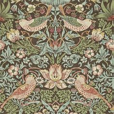 Strawberry Thief Wallpaper from William Morris Archive Wallpapers 2 Collection. A charming floral wallpaper featuring thrushes amongst stylised strawberry plants on an indigo background. William Morris Wallpaper, Morris Wallpapers, Blue Wallpapers, Hd Backgrounds, Print Wallpaper, Fabric Wallpaper, Wallpaper Designs, Wallpaper Patterns, Wallpaper Ideas