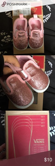 Slip on Shimmer Pink Baby Vans- Size 3 (3-6months) Never used! My daughter outgrew these before she could ever get to wear them. Vans Shoes Baby & Walker