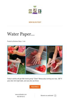 New Blog Post Water Paper, Messy Play, News Blog, Read More, Activities