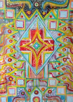Day 134. TROPICAL CROSS. by Juliana LaChance. hot summer nights down south, full of colour even in the dark. www.julianalachance.com  #art #painting #cross #gallery #tropical #hamont