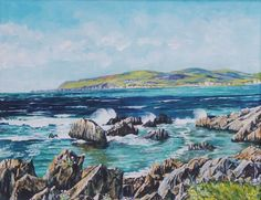 Port St Mary across Carrickey Bay - Isle of Man (2017) Acrylic painting by Max Aitken  https://www.artfinder.com/product/port-st-mary-carrickey-bay-isle-of-man/?utm_campaign=crowdfire&utm_content=crowdfire&utm_medium=social&utm_source=pinterest