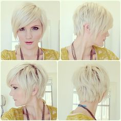 Pixie cut with long front. For growing it out.